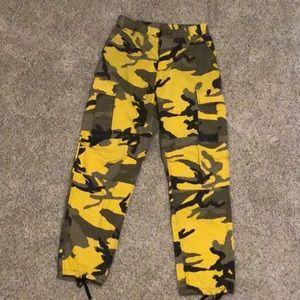 Pants - bright yellow camo pants